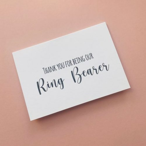 """""""Thank You For Being Our Ring Bearer"""" Card"""